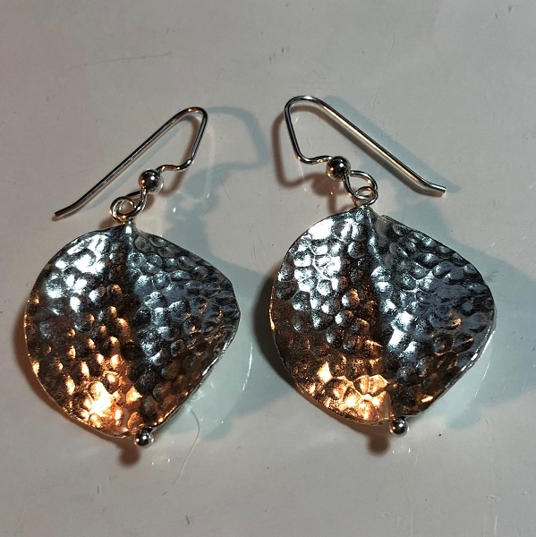 Diamond Shape Hand Hammered Sterling Silver Earrings