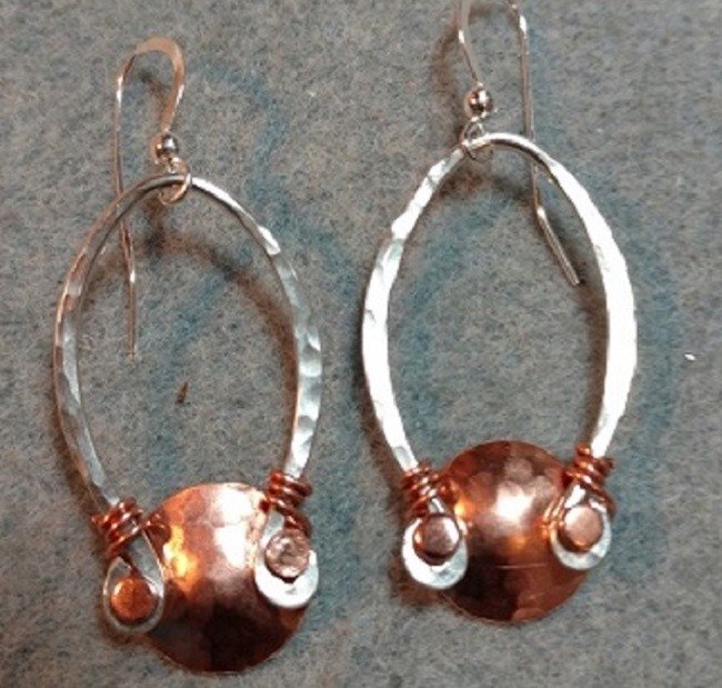 Hand Hammered Sterling Silver Earrings with a Copper Cap