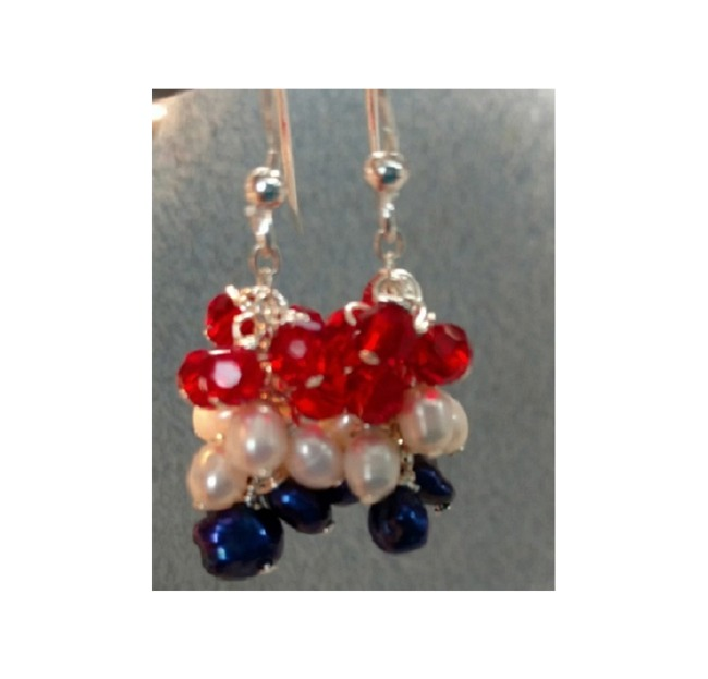 Fresh Water Pearl and Swarovski Crystal Cluster - July 4th Earrings