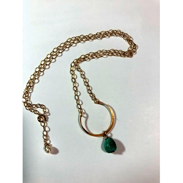 U Shape Hand Hammered 14kt Gold Filled necklace with Turqoise Nugget