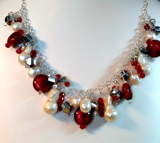Cluster of Fresh Water Pearls and Murano Glass on Sterling Silver Chain Necklace