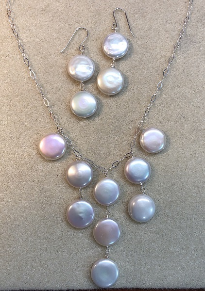 Coin Fresh Water Pearl Set with Sterling Silver Chain