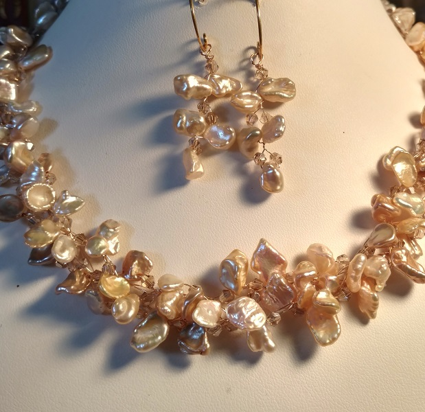 Copper Crochet Fresh Water Pearl Set