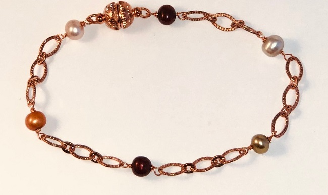 Copper Bracelet with Fresh Water Pearls