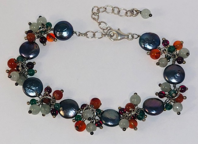 Coin Fresh Water Pearl and Gemstone Bracelet