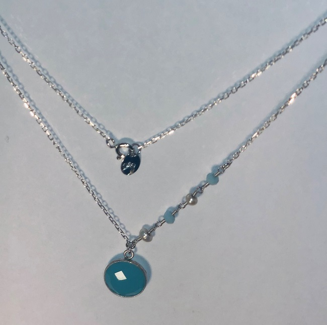 Aquamarine and Fresh Water Pearl Necklace