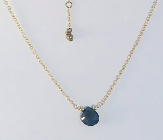 Faceted Teardrop Iolite Gemstone14kt Gold Filled Necklace