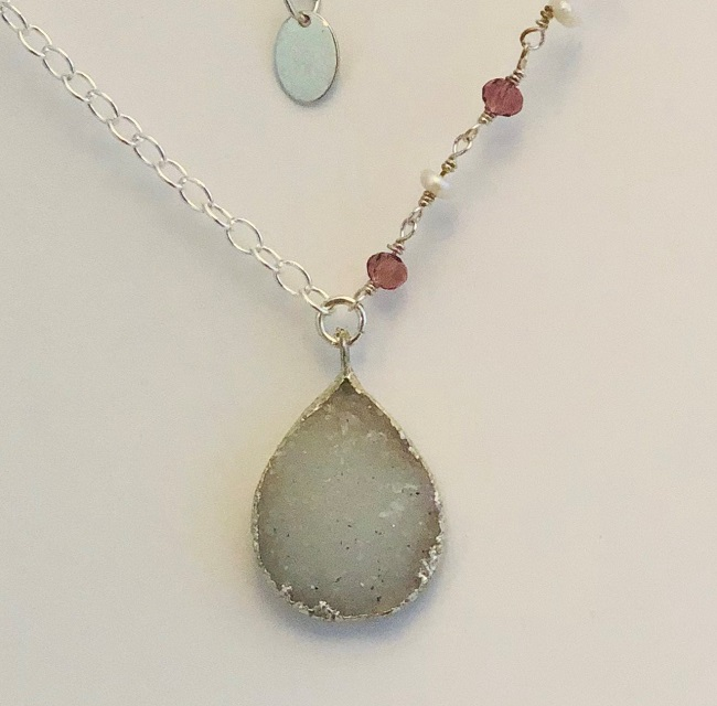 Druzy Agate Teardrop Pendant Necklace in Sterling Silver