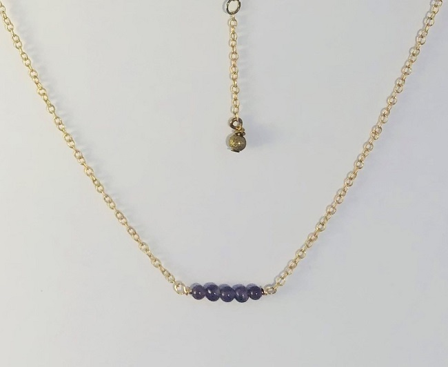 Amethyst Gemstones Set in 14kt Gold Filled Necklace