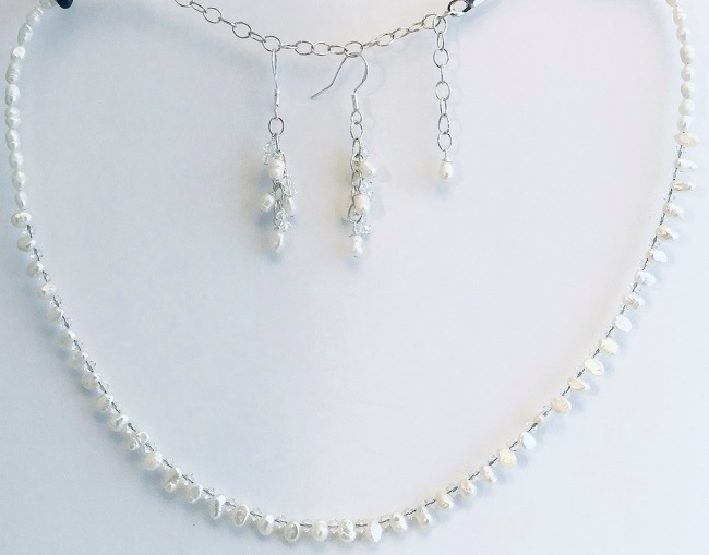 White Rice Fresh Water Pearls and Swarovski Crystal Wedding Jewelry