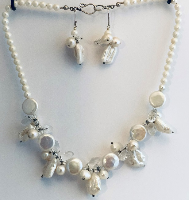 Coin and Biwa Fresh Water Pearl Wedding Jewelry