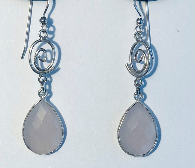 Faceted Rose Quartz and Sterling Silver Earrings