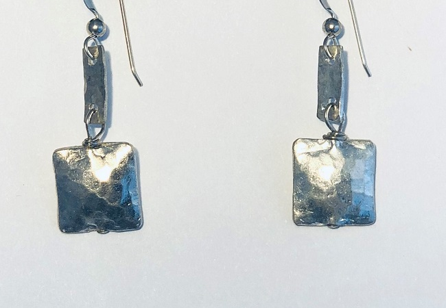 Hand Hammered Double Sided Cube Earrings