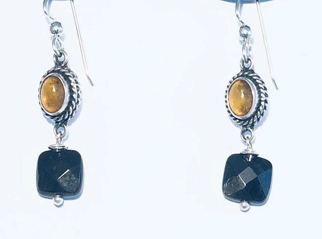 Amber and Garnet Earrings set in Sterling SIlver
