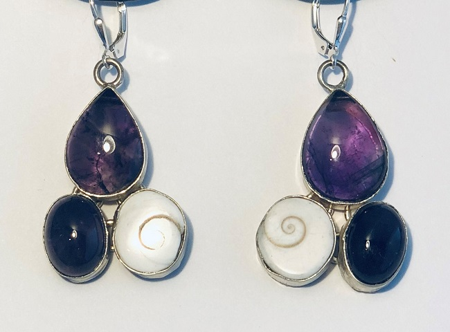 Amethyst and Shiva Shell Earrings set in Sterling Silver