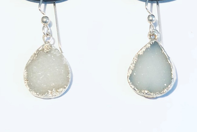 Druzy Agate Teardrop Sterling Silver Earrings