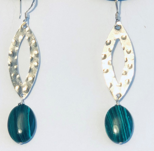 Malachite and Hand Hammered Sterling Silver Earrings