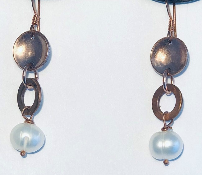 Fresh Water Pearl and Copper Earrings