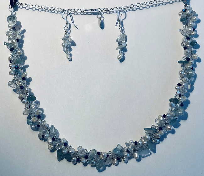 Crochet Fresh Water Pearls, Aquamarine Gemstone and Crystal Jewelry Set